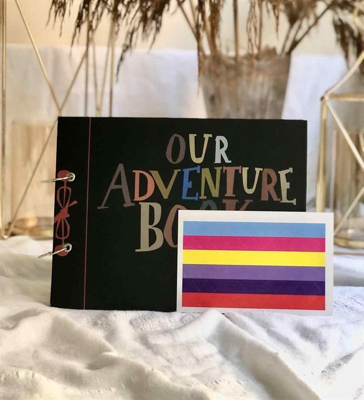 Macera Kitabımız Tasarımlı Siyah Sayfa Kendin Yap Fotoğraf Albümü Beyaz Kalem Hediyeli