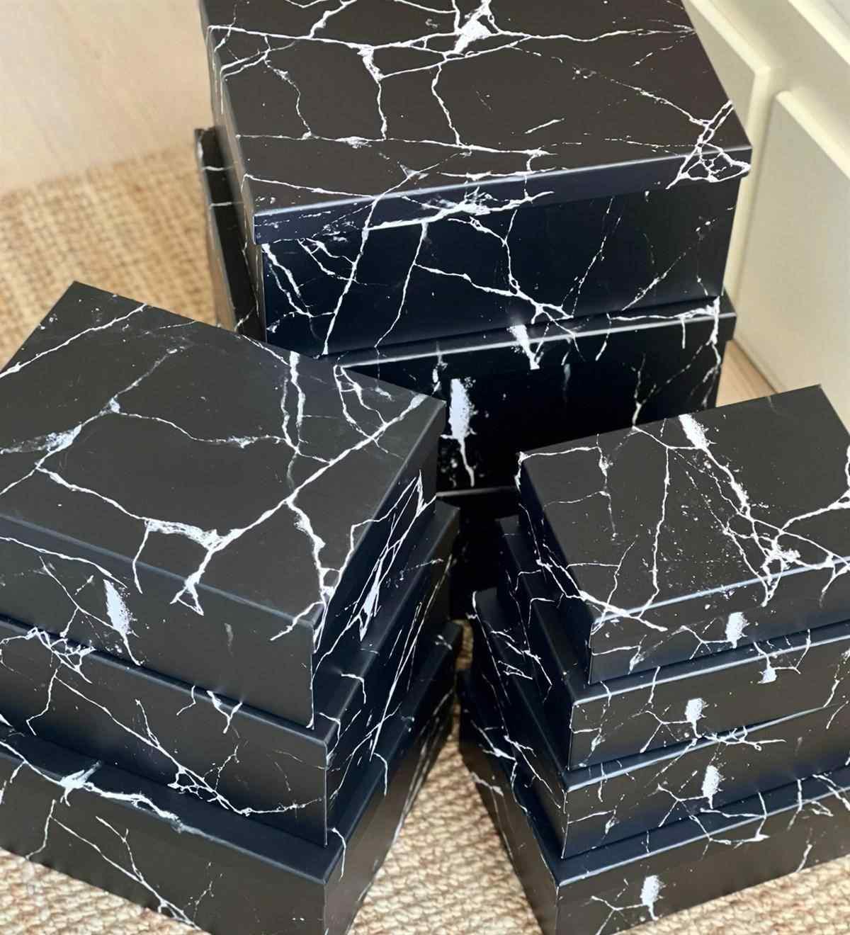 Siyah Mermer Tasarımlı  10lu Kutu