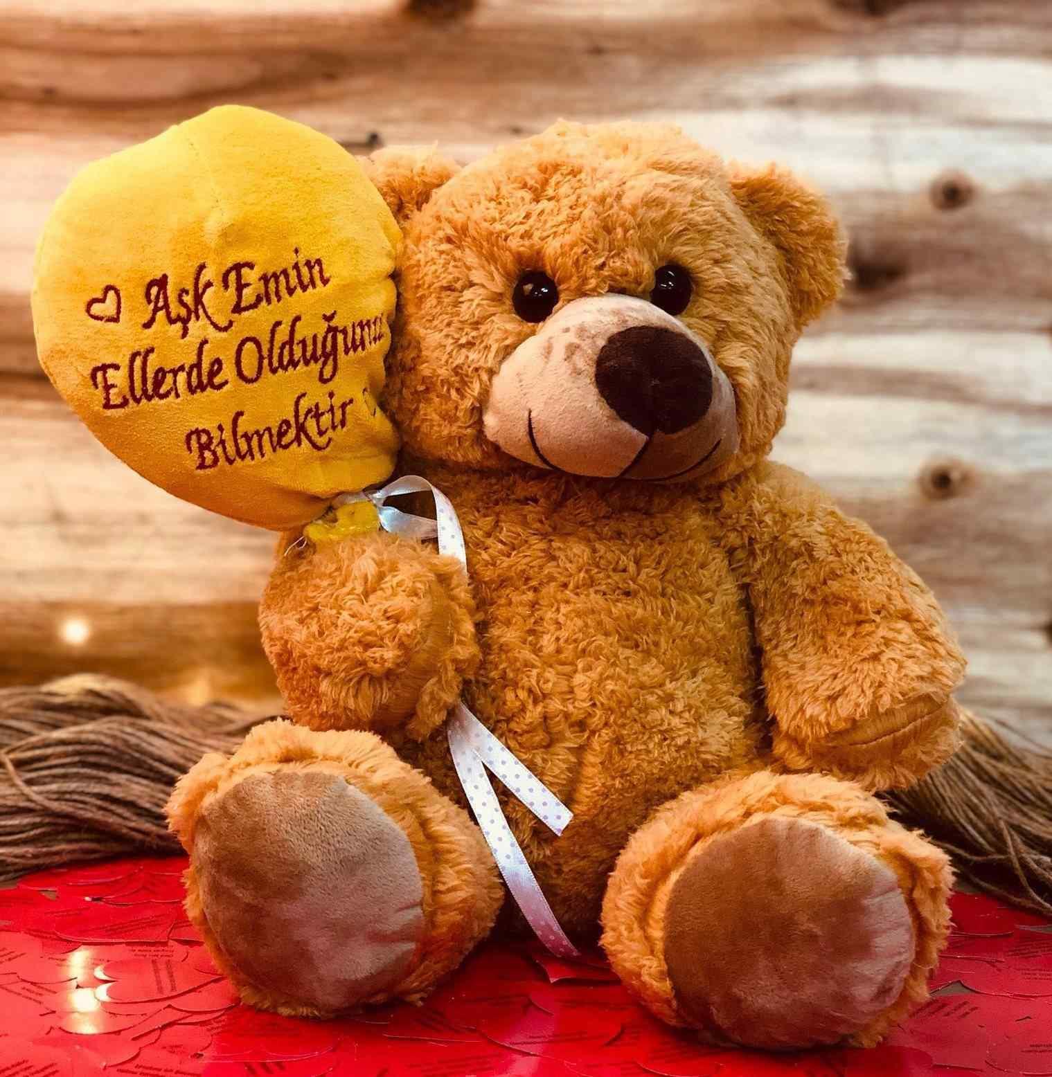 Aşk Emin Ellerde Olduğunu Bilmektir Aşk Sözleri Dolu Balonlu Ayıcık Sevgiliye Hediye