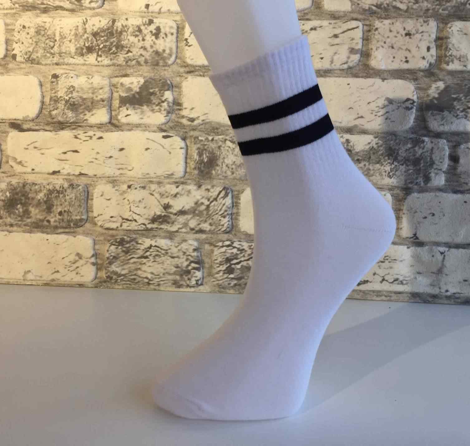 Beyaz Çorap Kolej Siyah Çizgili