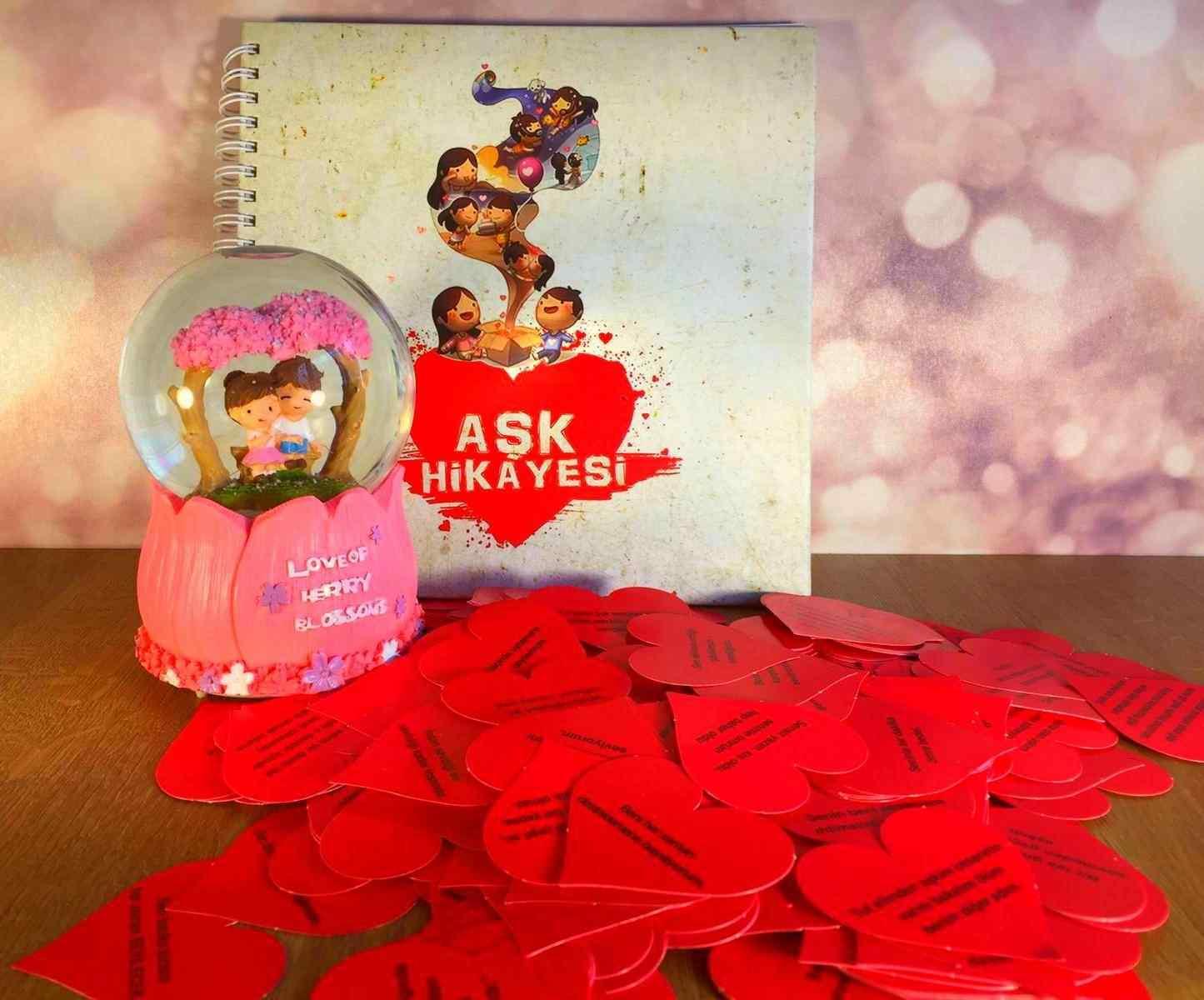 Aşk Hikayesi Müzikli Kar Küresi Ve Kitabı Sevgiliye Hediye Seti