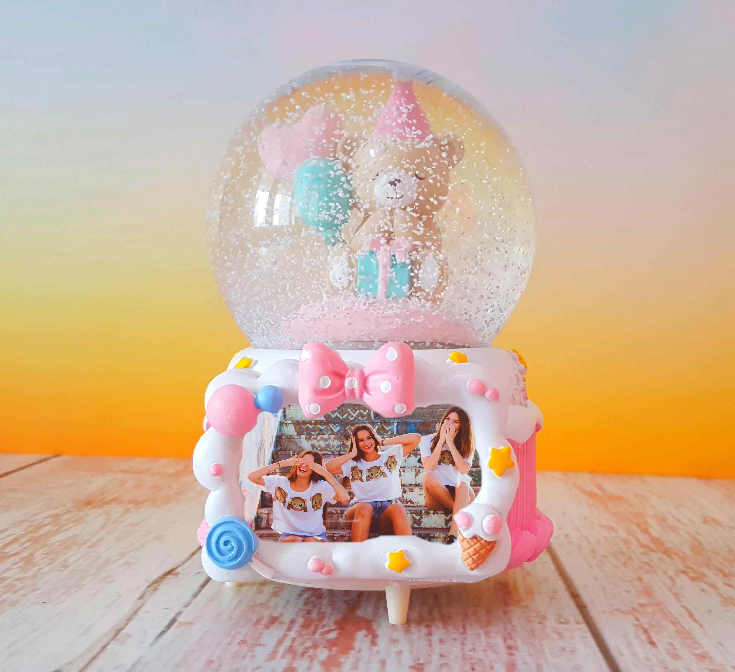 Happy Birthday Müzikli Dönen Doğum Günü Hediyesi Fotoğraflı Kar Küresi