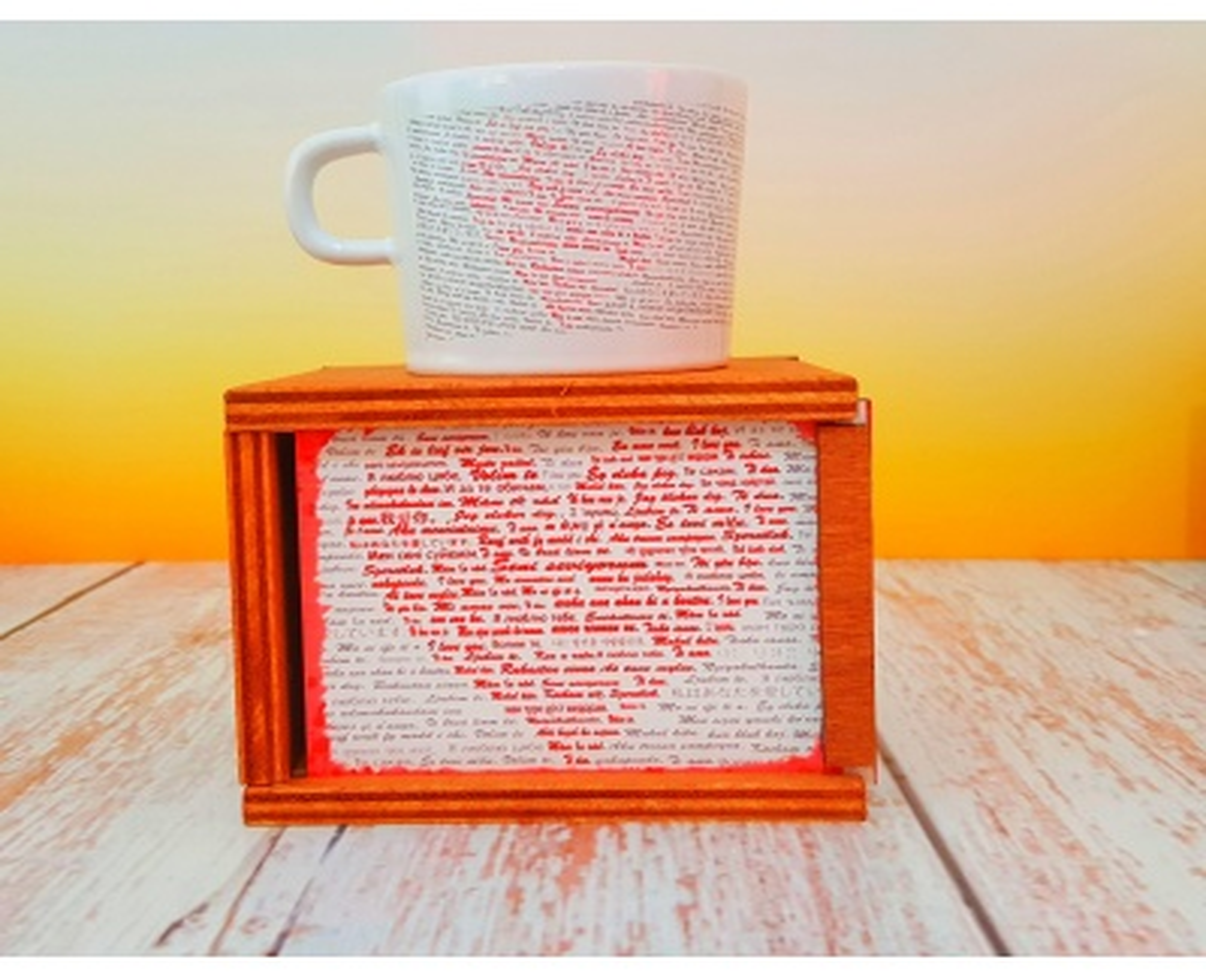 Uykusuz Aşık 100 Dilde Seni Seviyorum Kutulu Kupa Kahve Seti