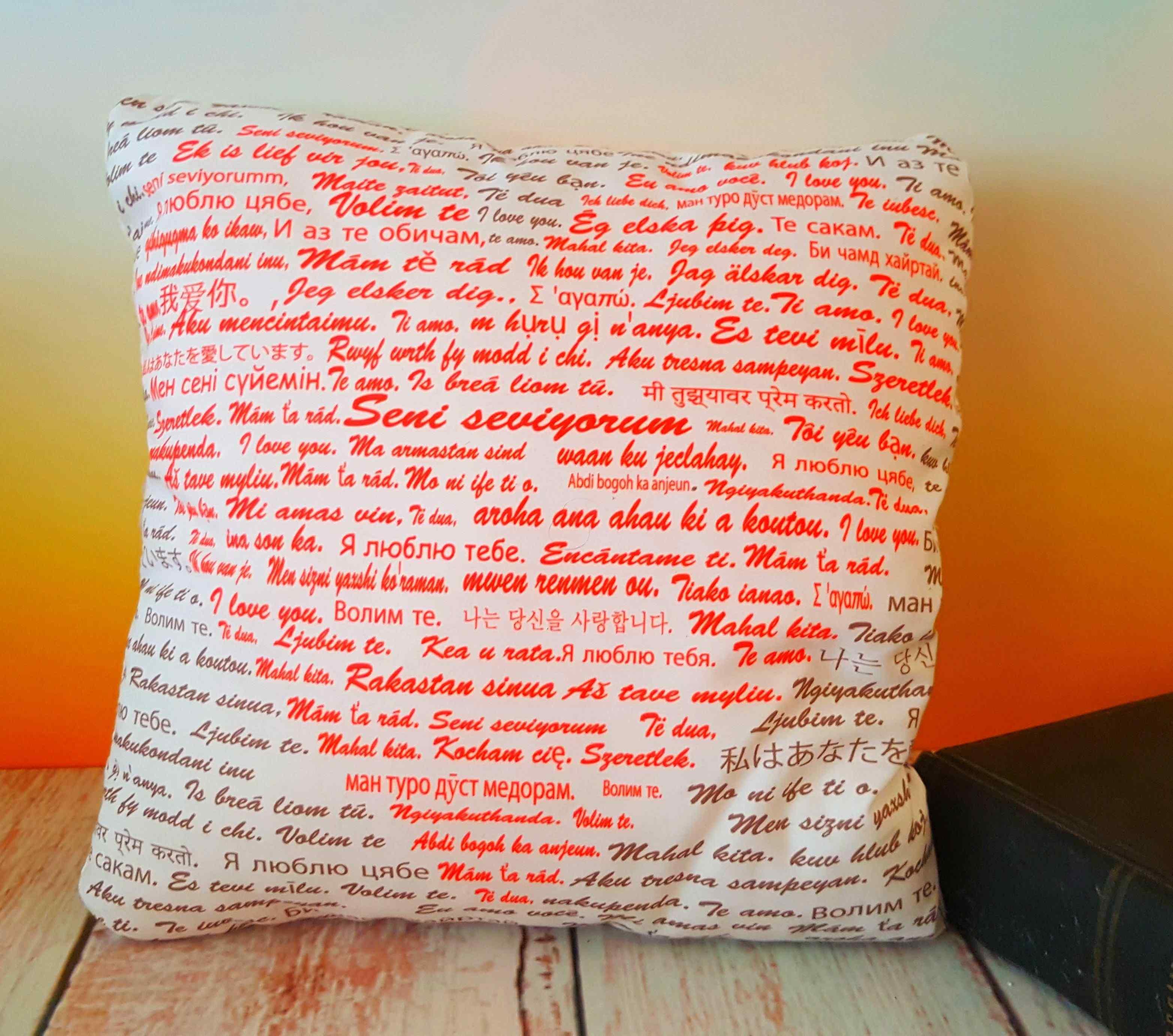 100 Dilde Seni Seviyorum Tasarım Polar Yastık