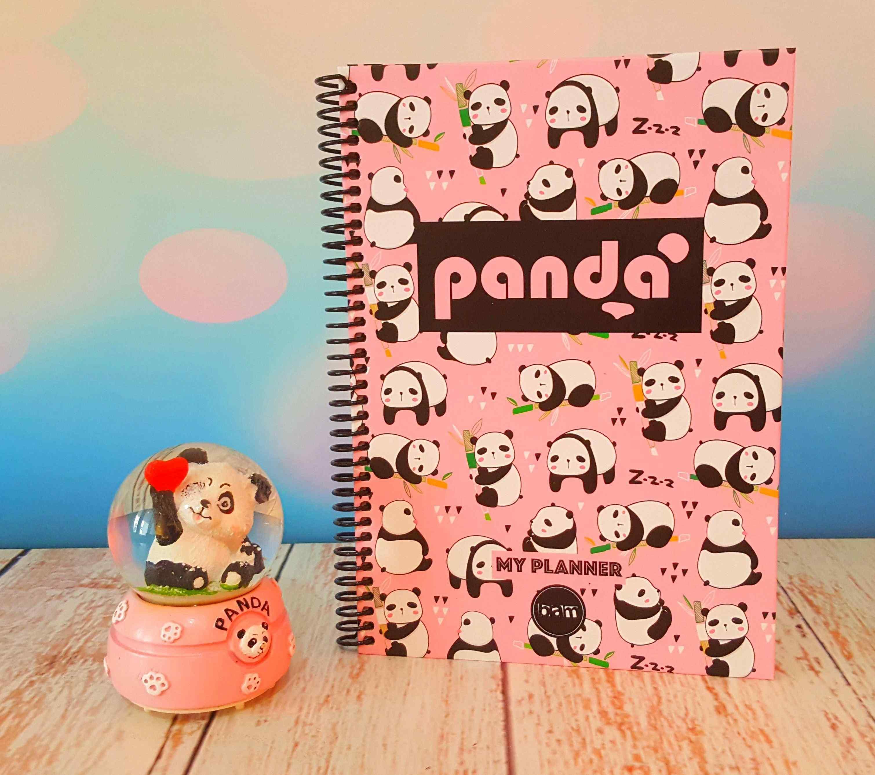 Panda Tarihsiz Haftalık Planlayıcı ve Sevimli Panda Müzikli Dönen Kar Küresi