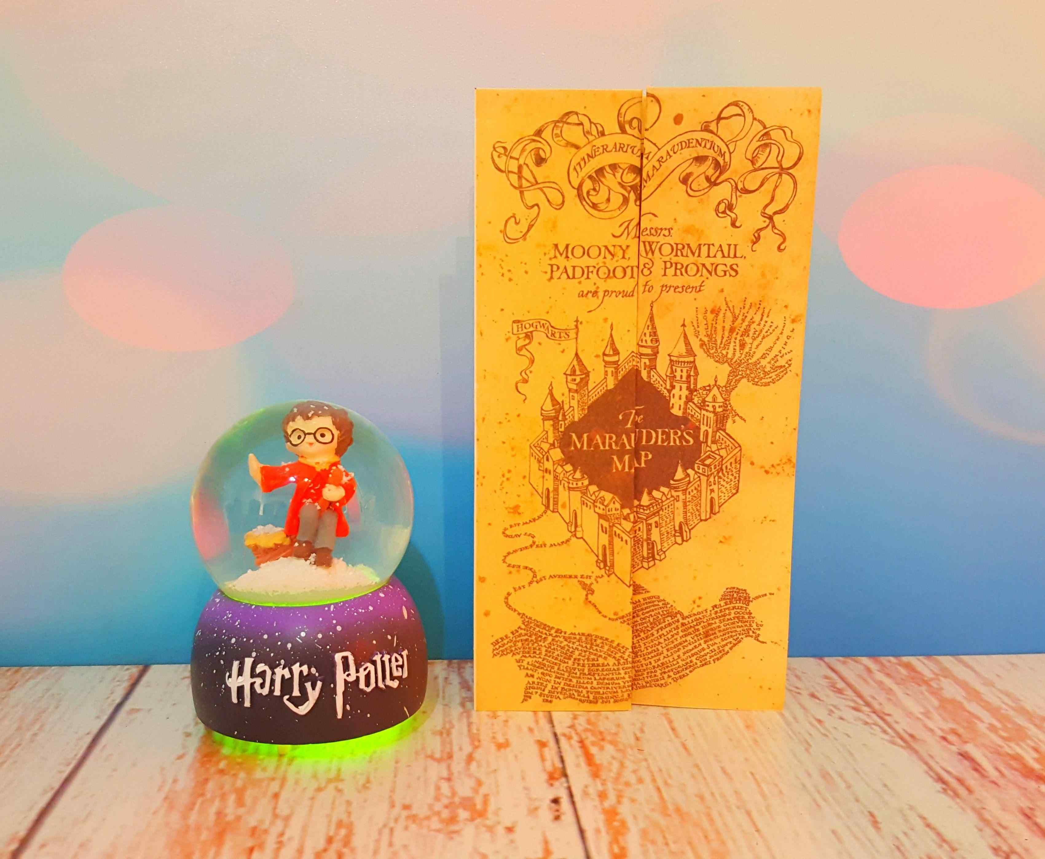 Harry Potter Küçük Boy Kar Küresi ve Harry Potter Büyücü Haritası Marauder's Map Çapulcu Haritası