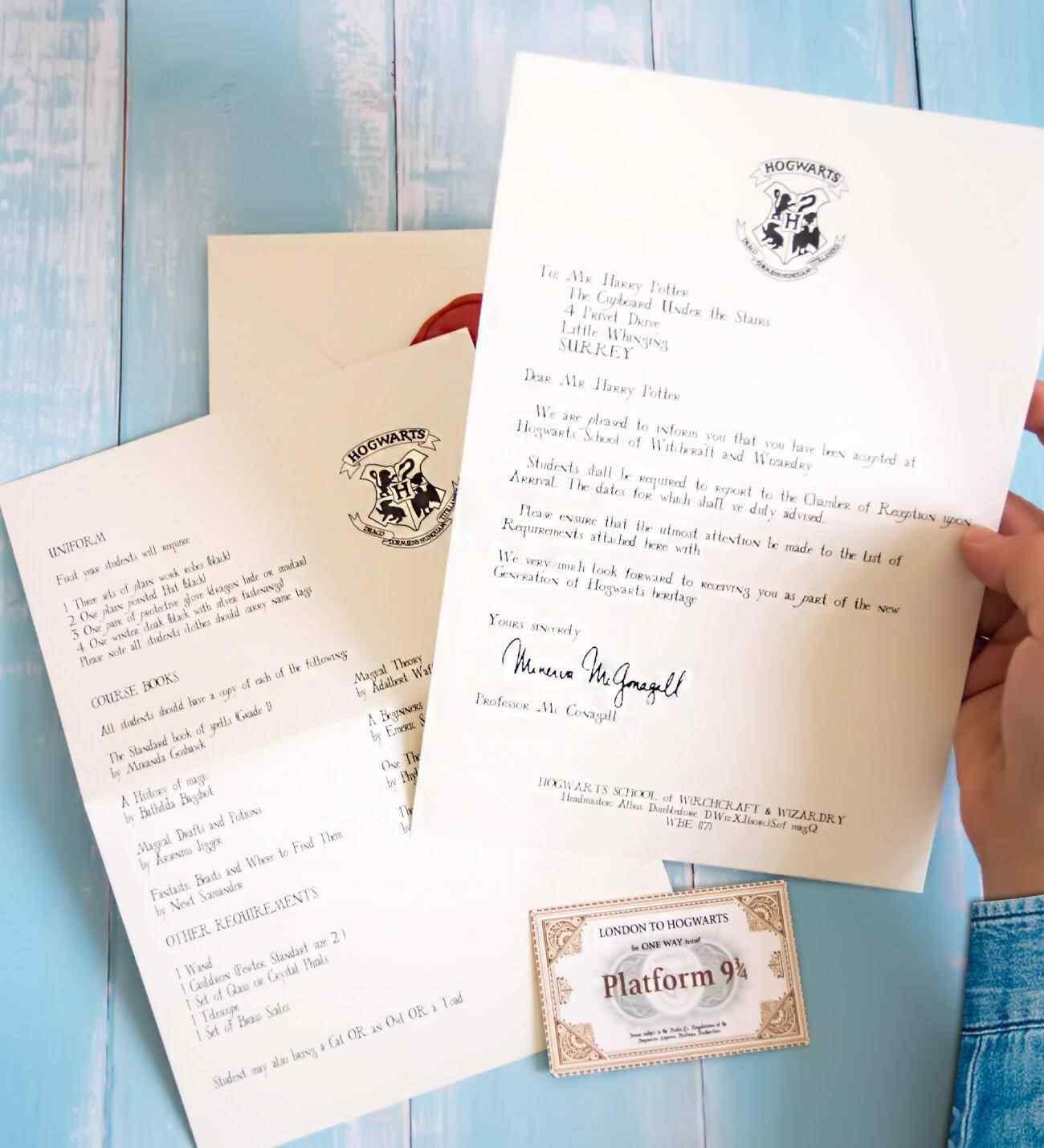 Harry Potter Hogwarts Kabul Mektubu Davet Mektup Seti