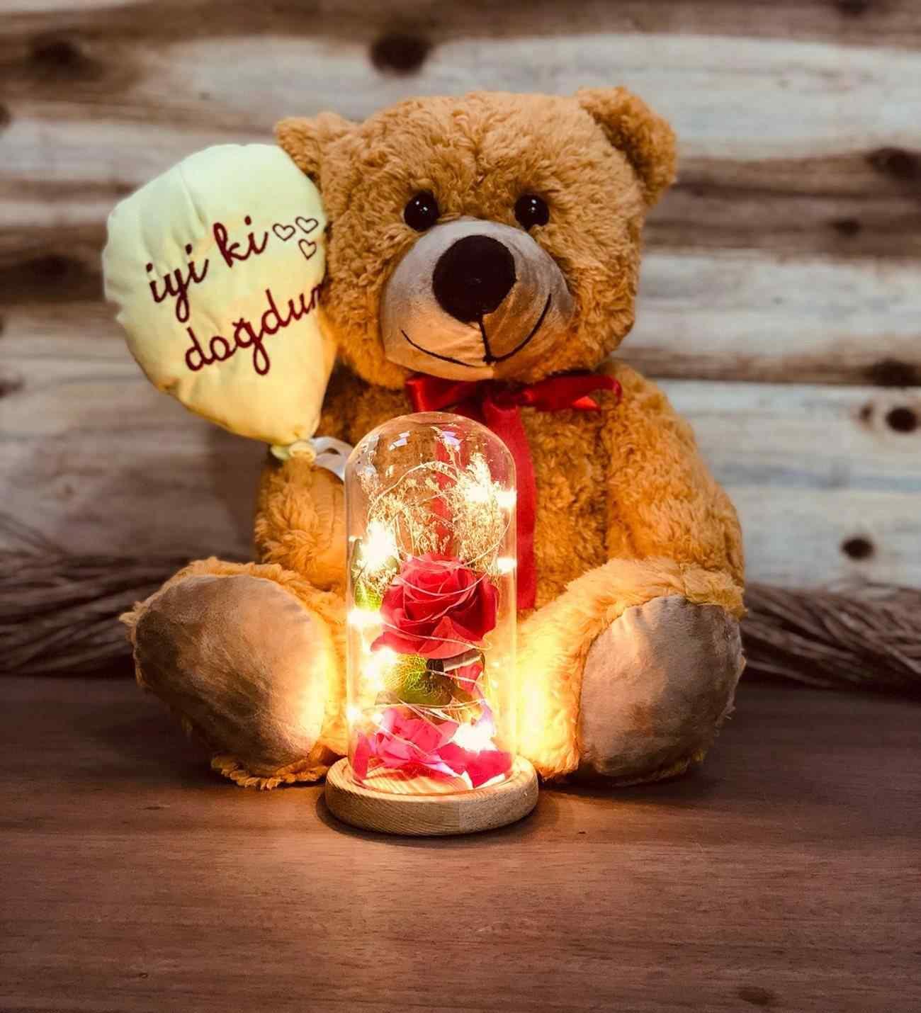 İyi Ki Doğdun Ayıcık Ve Işıklı Gül Fanus Unutulmaz Doğum Günü Hediyesi