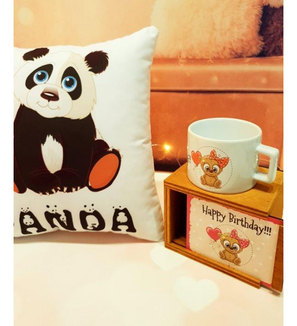 İyi Ki Doğdun Panda Yastık Ve Kutulu Kupa Hediye Seti
