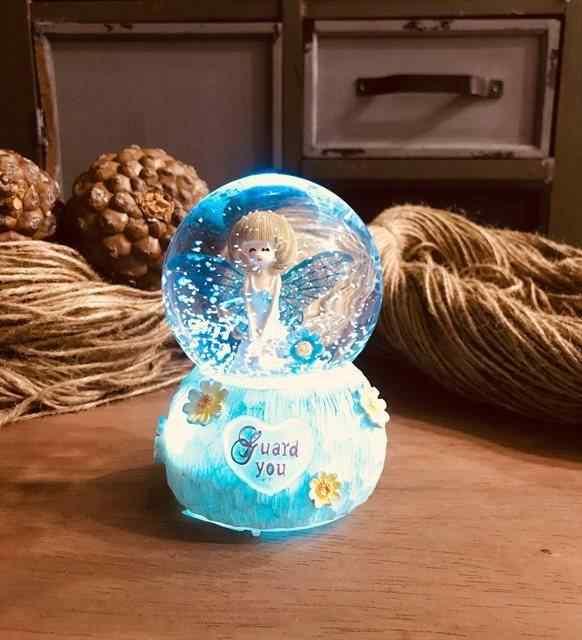 Renk Değiştiren Işıklı Sihirli Mavi Peri Müzikli Kar Küresi