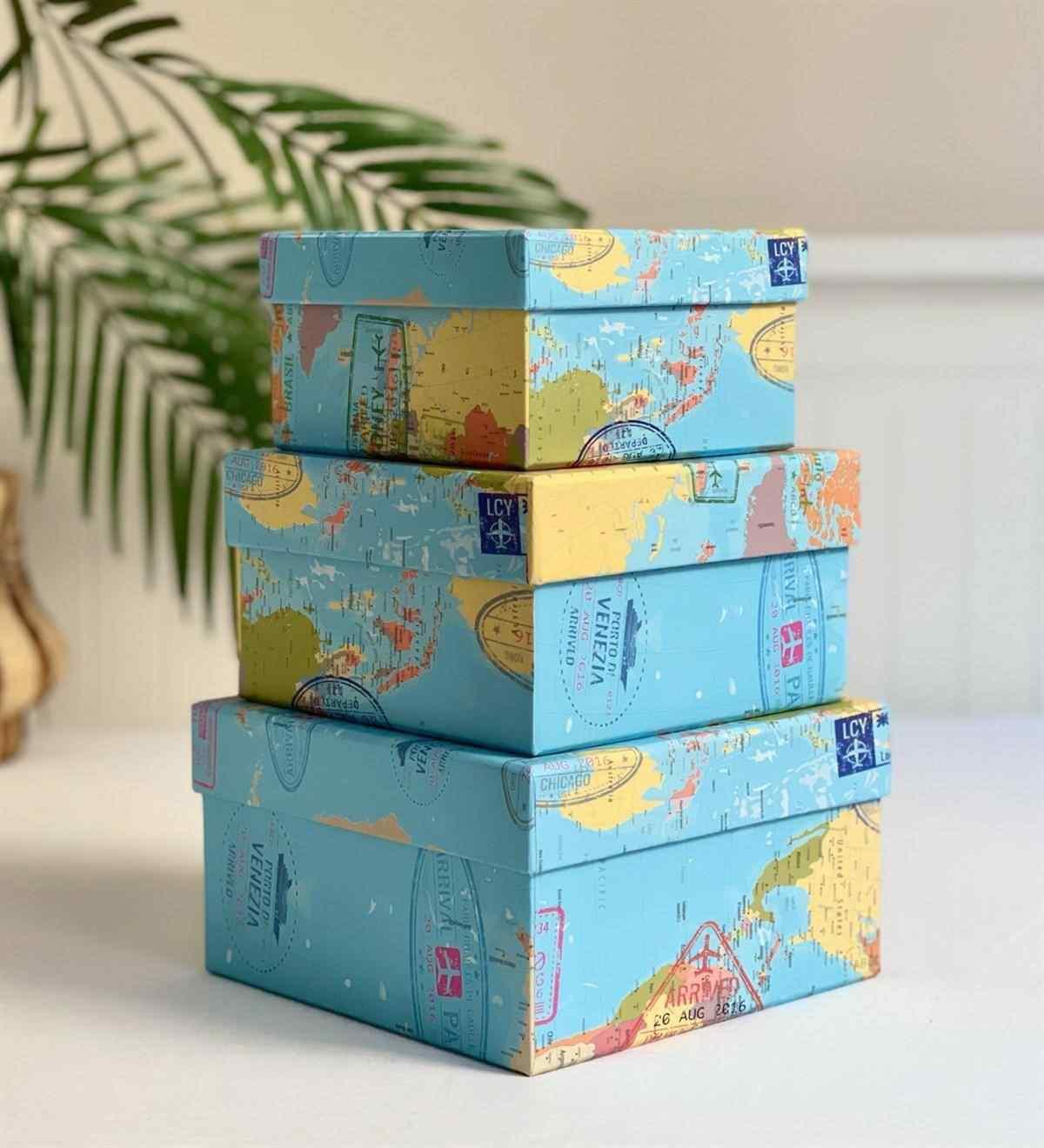 Travel Tasarımlı 3lü Kutu
