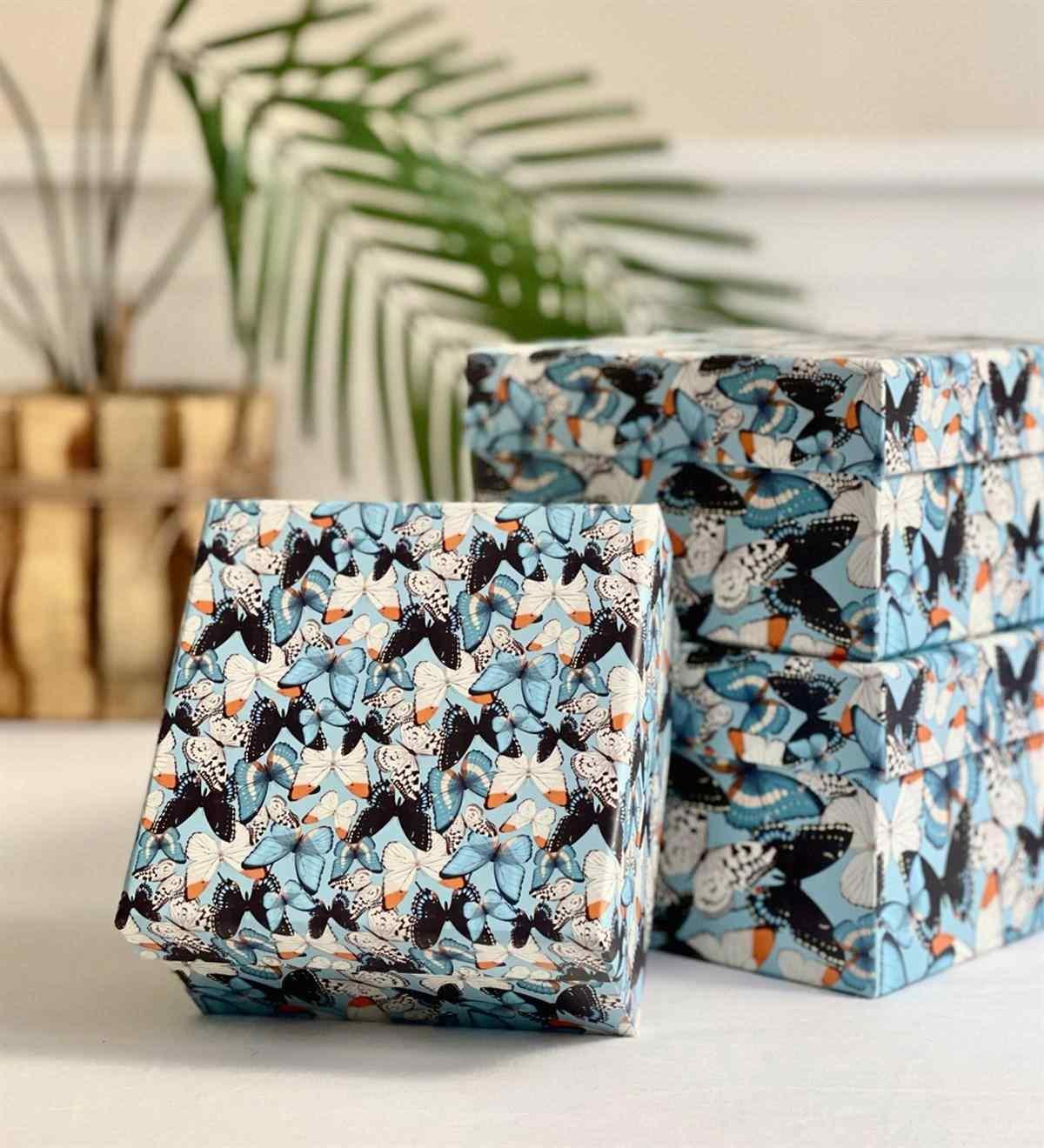 Kelebek Tasarımlı 3lü Kutu