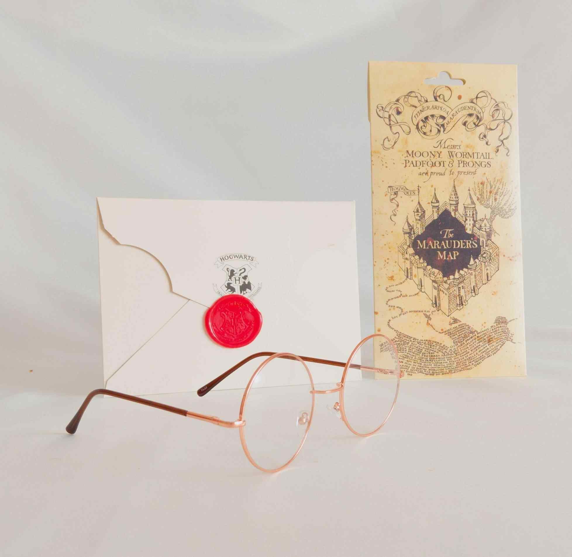 Harry Potter Çapulcu Haritası, Davet Mektubu Ve Çerçeveli Gold Gözlük Arkadaşa 3Lü Hediye Seti