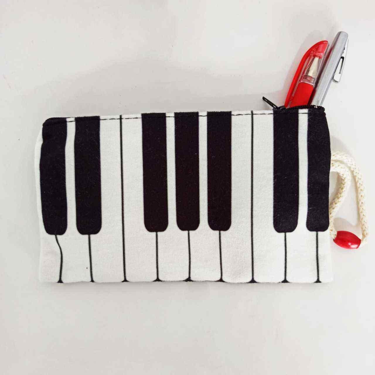 İpli Piyano Baskılı Bez Cüzdan Kalemlik
