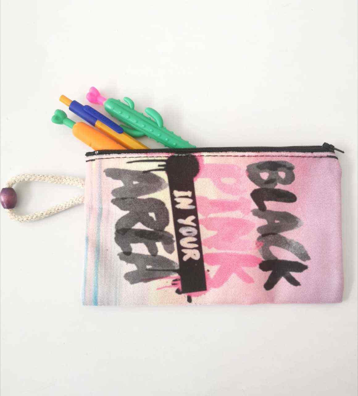 İpli Black Pink Tasarımlı Bez Kalemlik ve Makyajlık