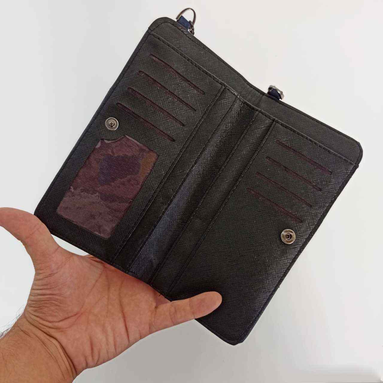 Lacivert Kapaklı Telefon Bölmeli Polo Kadın Cüzdanı