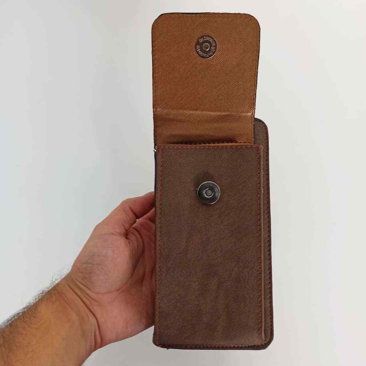 Acı Kahve Kapaklı Telefon Bölmeli Polo Kadın Cüzdanı