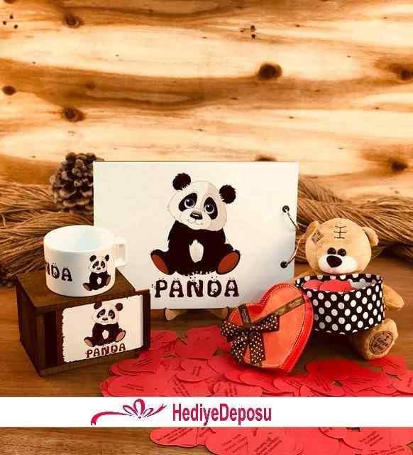 Aşık Panda Özel Tasarım 3lü Hediye Seti