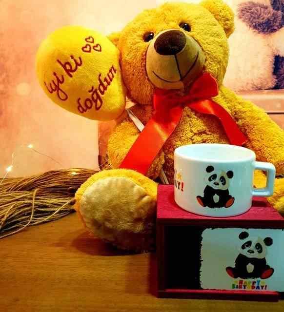 İyi Ki Doğdun Peluş Ayıcık Ve Happy Birthday Rengarenk Kutulu Kupa Doğum