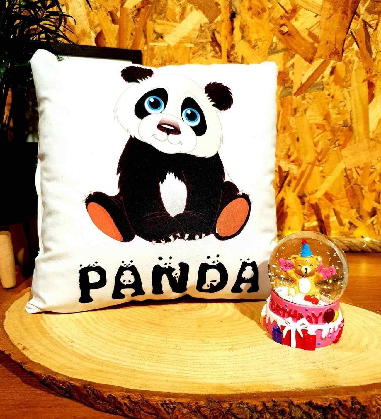 Happy Birthday Panda Doğum Günü Hediyesi Kar Küresi Ve Panda Puf Yastık